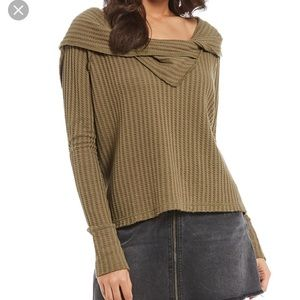 Free people thermal cowl neck top moss